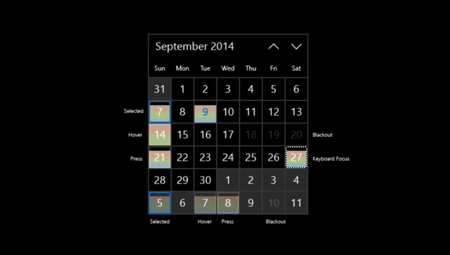 Month calendar in Windows 10