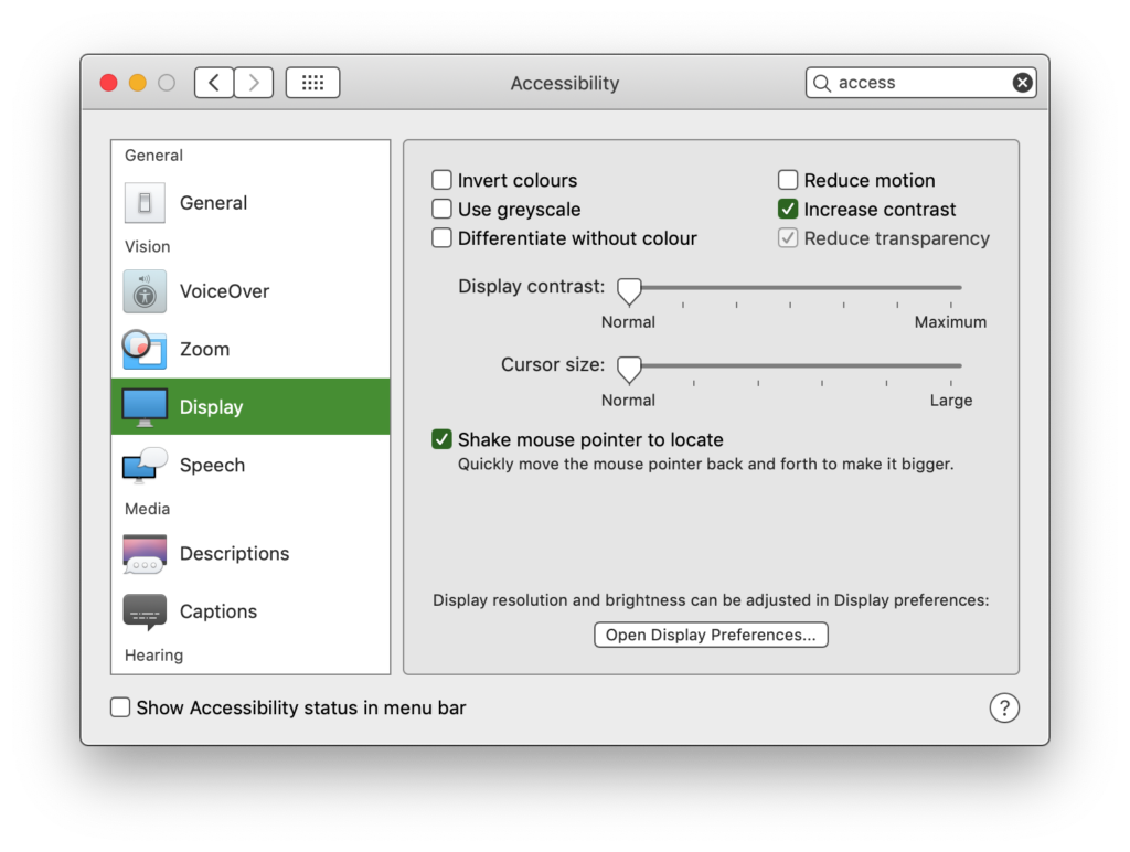 macOS Accessibility settings